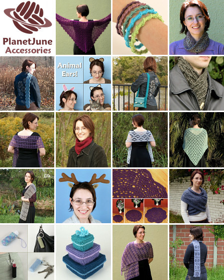 PlanetJune Accessories crochet pattern range, 2013