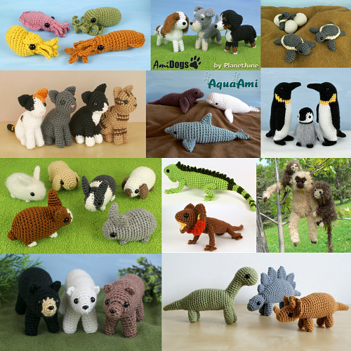 PlanetJune Ami Animals CAL - partial selection of crochet pattern choices