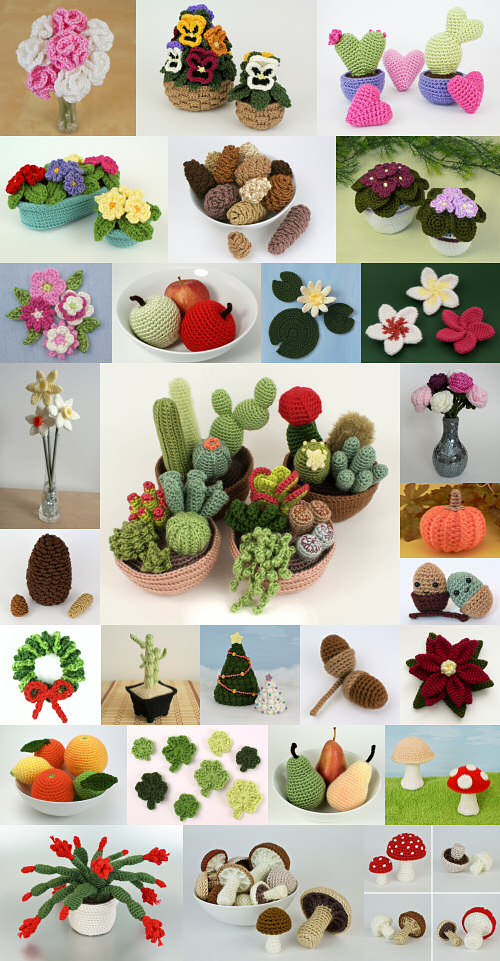 PlanetJune BotaniCAL crochet patterns: crocheted potted plants, fruit and flowers
