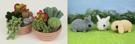 2012 bestsellers: Succulent Collections and Baby Bunnies crochet patterns by PlanetJune