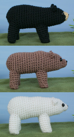 black, polar and brown (grizzly) bear crochet patterns by planetjune