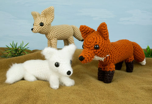 red, arctic and fennec fox amigurumi crochet patterns by planetjune