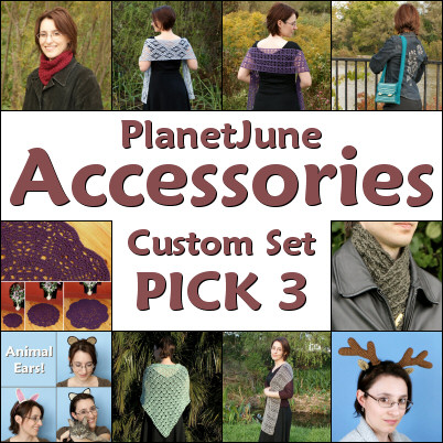 PlanetJune Accessories custom set of any 3 crochet patterns