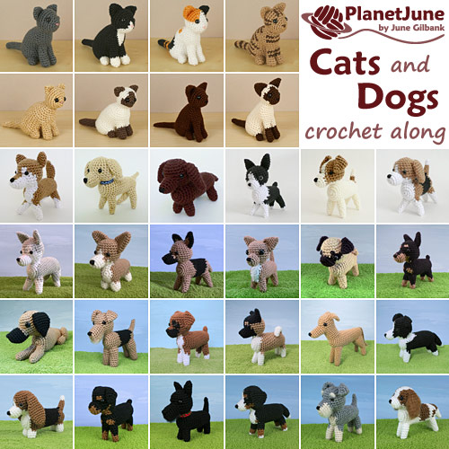 PlanetJune Cats and Dogs CAL 2019 - 8 AmiCats and 24 AmiDogs crochet patterns