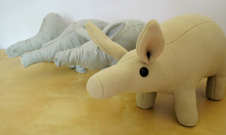 the evolution of the PlanetJune plush aardvark design