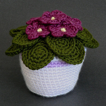 crocheted african violet by planetjune