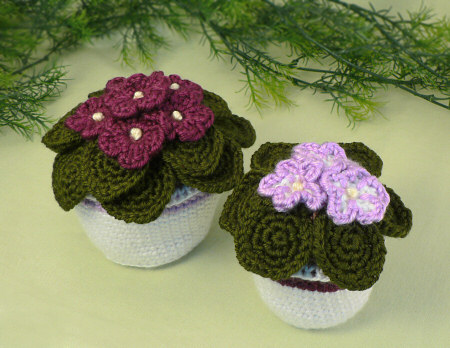 crocheted african violets by planetjune