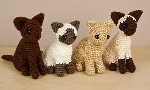 AmiCats Collection 2 crochet patterns by PlanetJune: Burmese, Himalayan, Persian and Siamese amigurumi cats