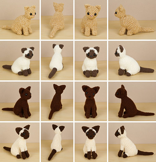 AmiCats Collection 2 crochet patterns by PlanetJune: Persian, Himalayan, Burmese and Siamese amigurumi cats
