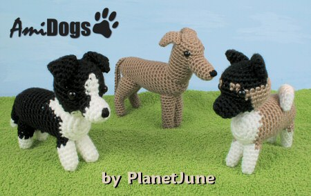 AmiDogs Set 6 (Akita, Greyhound/Whippet, Border Collie) amigurumi crochet patterns by PlanetJune