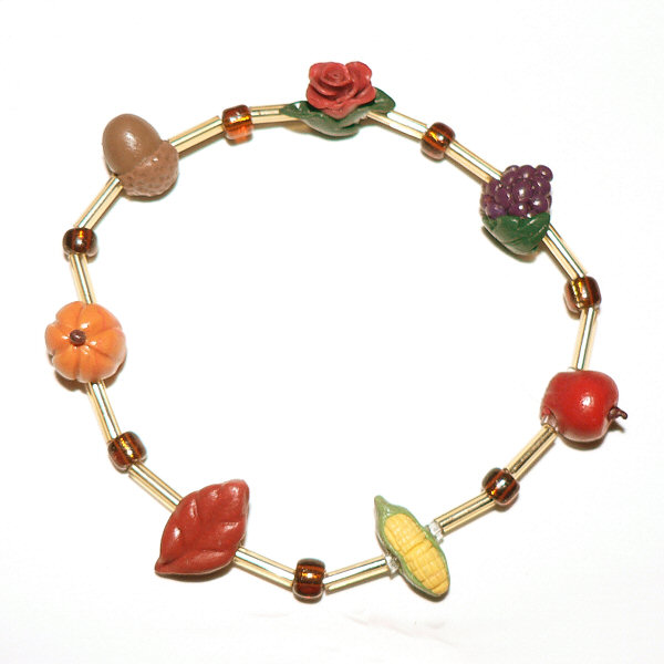 FIMO polymer clay autumn themed bracelet