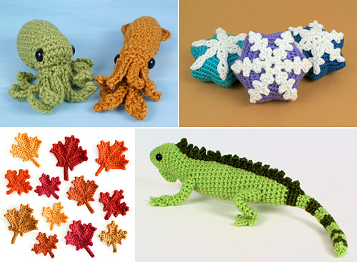 examples of PlanetJune crochet patterns that make use of crocheting into the back bumps of chains