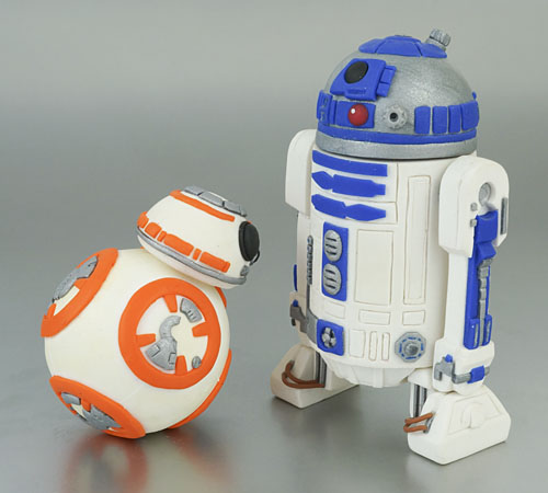 polymer clay BB-8 and R2-D2