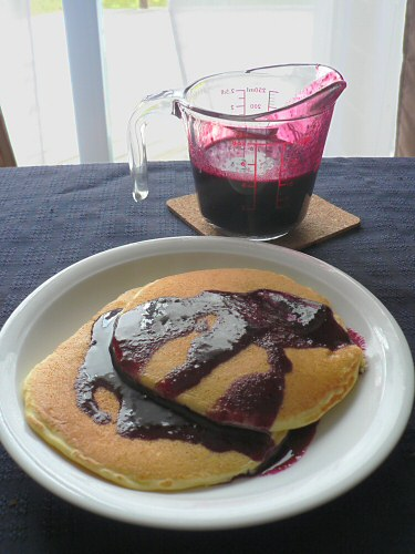 blueberry syrup and pancakes