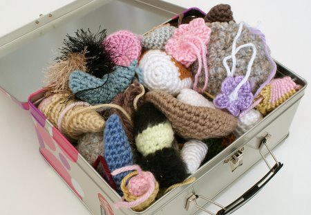 box of crocheted bit by planetjune