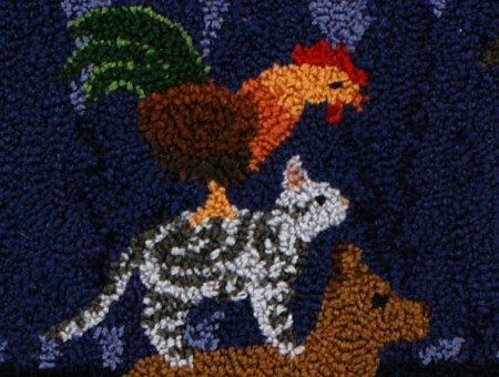 Musicians of Bremen punchneedle embroidery - detail - by June Gilbank (PlanetJune)