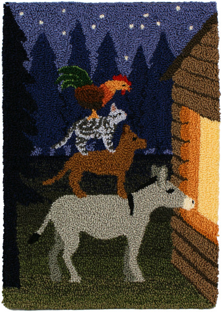 Musicians of Bremen punchneedle embroidery by June Gilbank (PlanetJune)
