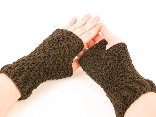brown wristwarmers from Front-and-Back Fingerless Mitts pattern by June Gilbank