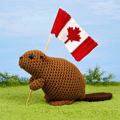 Beaver and Canadian Flag crochet patterns by PlanetJune