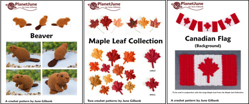 Beaver and Maple Leaf Collection (including Canadian Flag) crochet patterns by PlanetJune