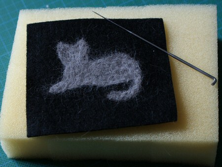 cat hair needlefelted silhouette by planetjune