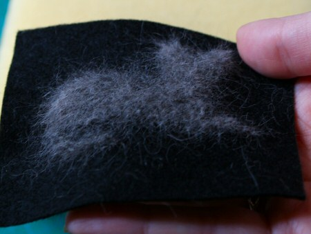 cat hair needlefelted silhouette by planetjune (back)