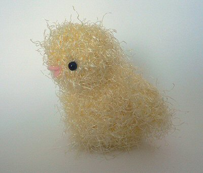 fuzzy crocheted chick