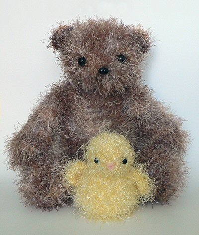 fuzzy crocheted bear and chick