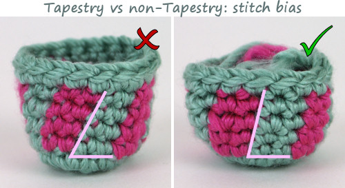 colour changing experiment by PlanetJune - stitch bias difference between normal and tapestry crochet