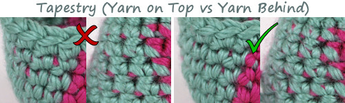 colour changing experiment by PlanetJune - comparison of tapestry crochet with the yarn held on top or behind the stitches