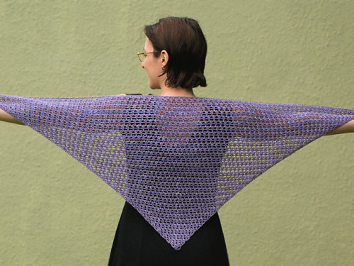 Cozy Mesh Triangular Shawl, a PlanetJune Accessories crochet pattern by June Gilbank