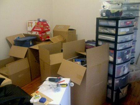 new craft room - boxes galore