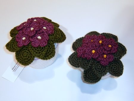 crocheted african violets by planetjune and silverlotus