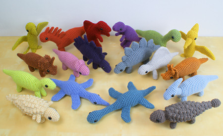 18 amigurumi dinosaur crochet patterns by planetjune