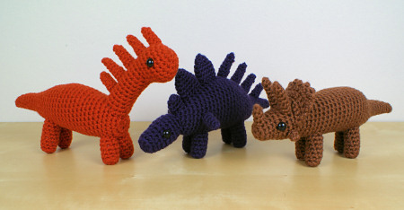 Dinosaurs Set 1X Expansion Pack crochet patterns by PlanetJune: Amargasaurus, Kentrosaurus, Pentaceratops