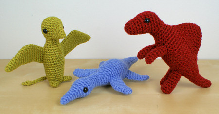Dinosaurs Set 2X Expansion Pack crochet patterns by PlanetJune: Dimorphodon, Kronosaurus, Spinosaurus