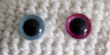 clear animal eyes with felt colours for amigurumi