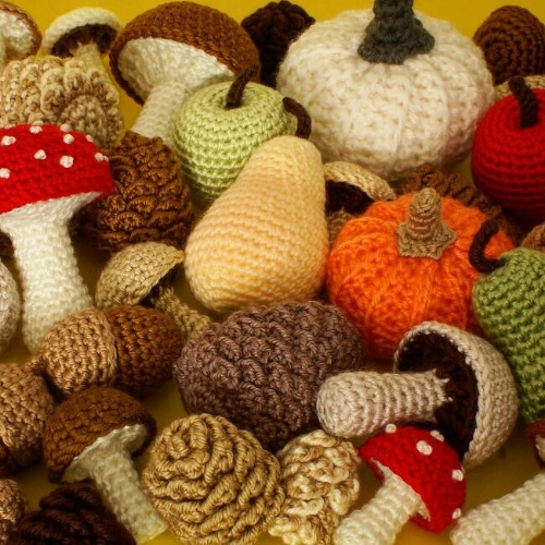 a selection of Fall-themed PlanetJune crochet patterns
