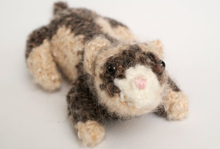 OOAK art plush crocheted ferret by June Gilbank (PlanetJune)