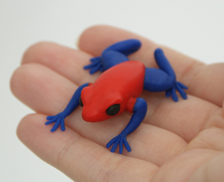 strawberry poison dart frog polymer clay sculpture by planetjune