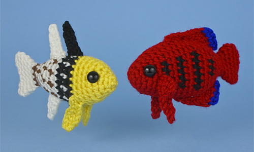 Aquaami Tropical Fish crochet patterns by PlanetJune. Set 4: Pajama Cardinalfish and Flame Angelfish