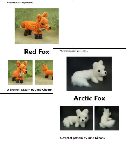 Red Fox & Arctic Fox crochet patterns by PlanetJune