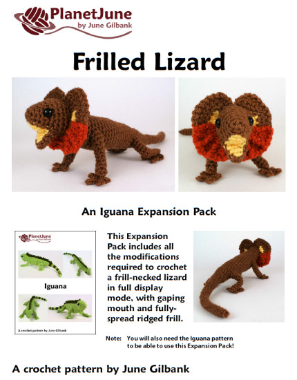 frilled lizard crochet expansion pack pattern by planetjune