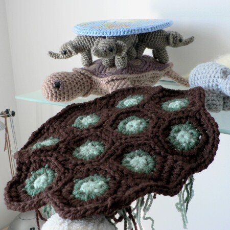 start of giant crocheted sea turtle