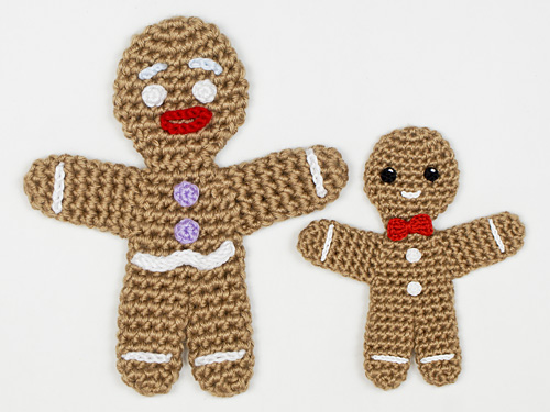 amigurumi supersized Gingy and regular size Gingerbread Man - based on Gingerbread Man crochet pattern by PlanetJune