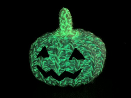 glow in the dark crocheted pumpkin by planetjune