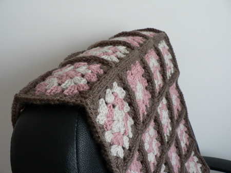 crocheted granny throw detail