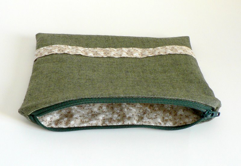 green zippered pouch