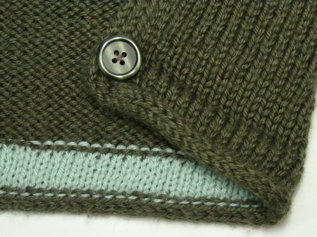 grey cardigan - afterthought facing to stop curling