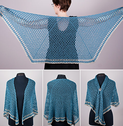 Half Hexagon Shawl crochet pattern by PlanetJune